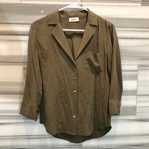 L'AGENCE olive silk button down